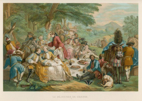 An aristocratic hunting party breaks for lunch - a picnic on the grass