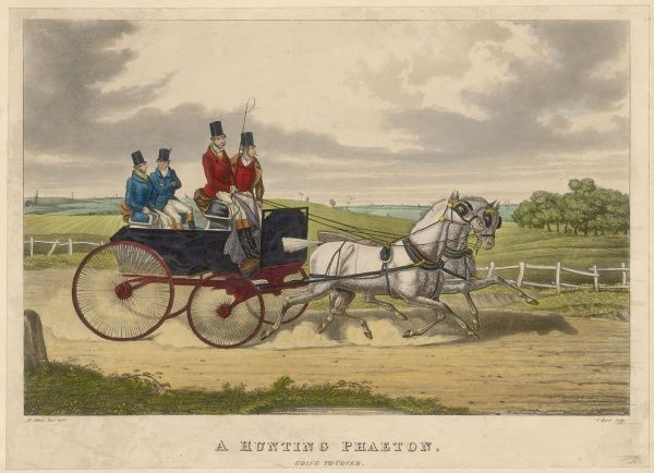 'Going to Cover'. Two huntsmen in their swift carriage travel at pace along a country lane