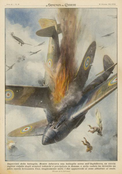 BATTLE OF BRITAIN During a 'dogfight' with attacking Germans, a crashing British 'Hurricane' collides with another - the Germans notch two for the price of one