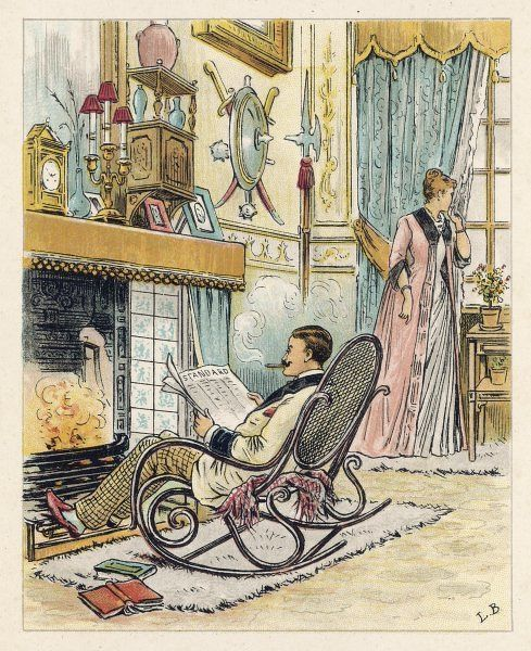 Realisation: the husband selfishly hogs the fire, while his wife stands by the window wondering where she went wrong