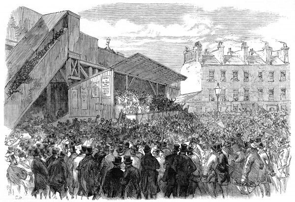 Engraving showing the hustings for the Southwark election, held beside Borough Road, 1870