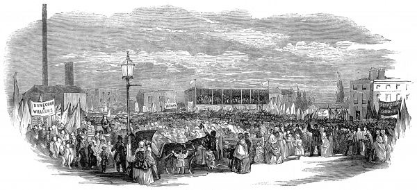 Engraving showing the crowd on Kennington Common for the Lambeth hustings, during the General Election of 1852