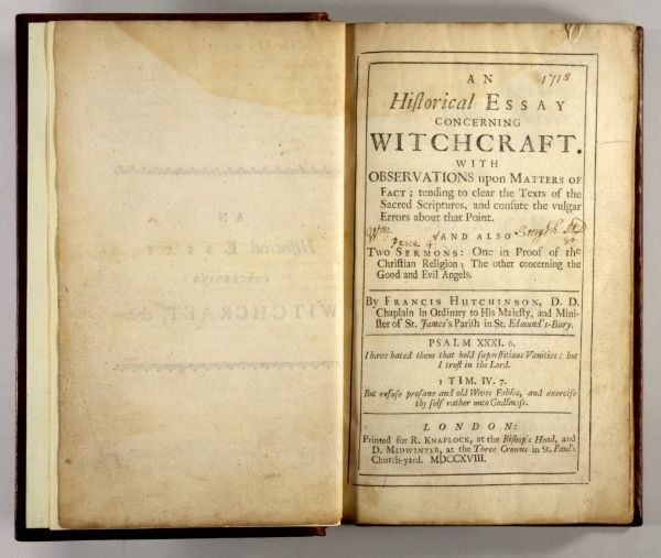 Title-page of the 'ESSAY CONCERNING WITCHCRAFT' by the Rev Francis HUTCHINSON, a splendidly sceptical view of the subject