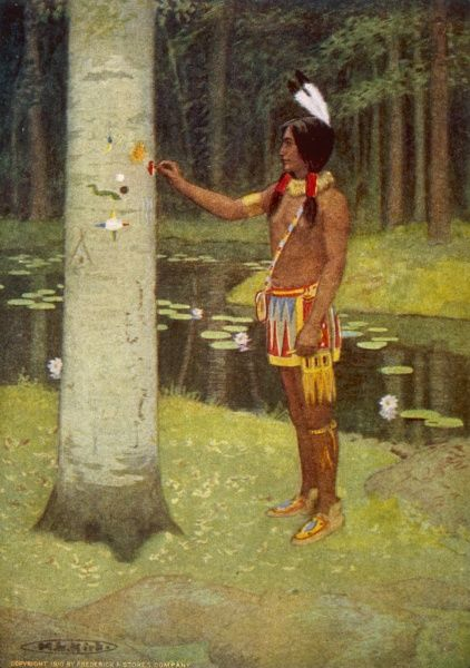 Hiawatha invents the pictogram which he carves onto a tree