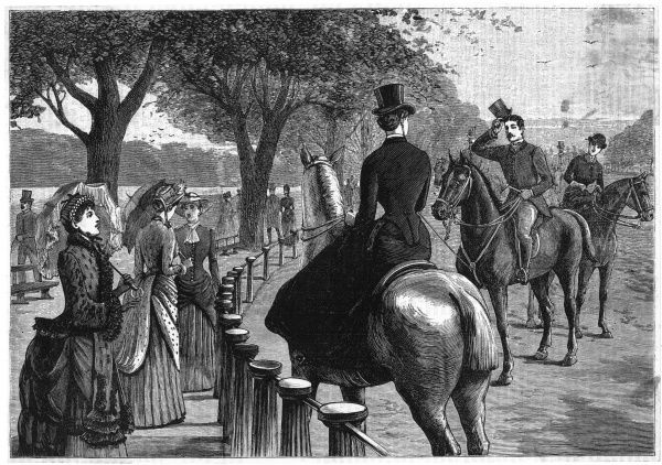 A gentleman rider salutes a lady rider in Rotten Row
