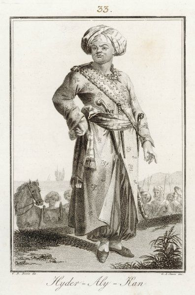 HYDER ALI Sultan of Mysore c.1761. Helped form first corps of sepoys with European arms and artillery