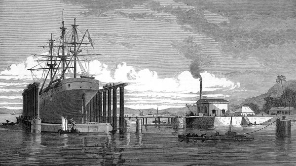 Engraving of the Hydraulic Lift Graving Dock on Hog Island, Bombay, opened on the 16th November 1872. This graving dock could take ships up to 400 foot long, raising them out of the water for work to be undertaken on their hulls