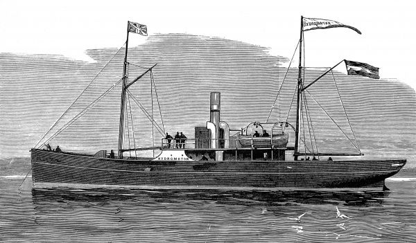 Engraving of the Hydromotor Ship, invented by Dr. Emil Fleischer of Dresden, September 1881. Instead of propellor or paddle-wheel, this vessel was propelled and steered by drawing in and shooting out streams of water