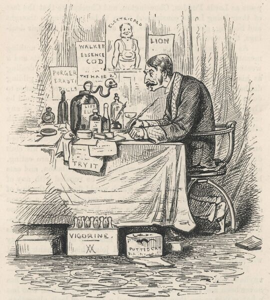 A hypochondriac sits at his desk surrounded by potions and advertisements for various cures