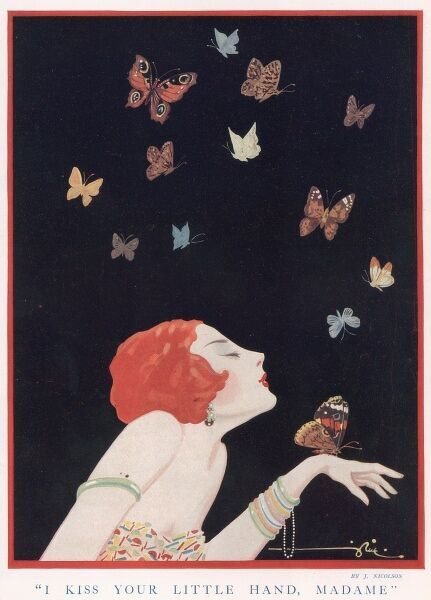 Illustration of a glamorous lady catching butterflies