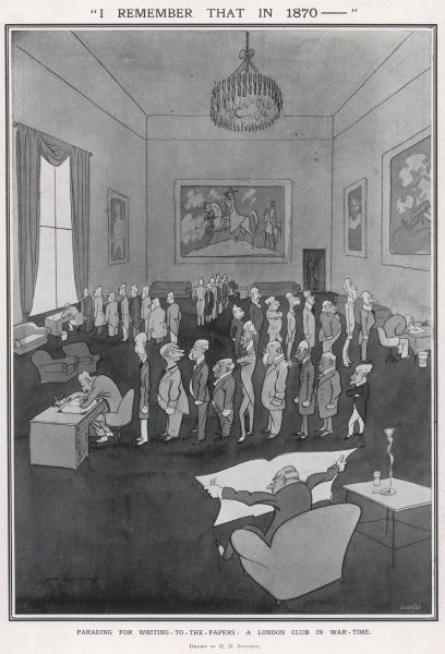 Indignant members of a gentlemen's club line up to write to the papers during World War I, no doubt to expound their views on the mishandling of the war