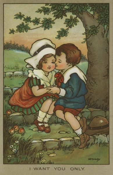I want you only. A young couple sit on a stone wall under the branches of a tree. The boy kisses the girls cheek, whilst they hold hands