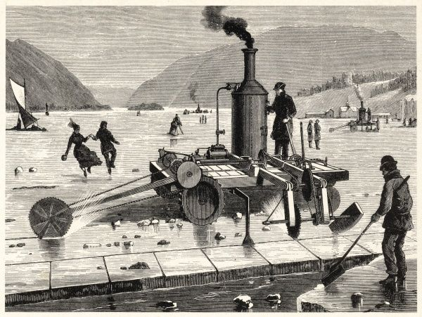 A late 19th century Steam-powered Ice-cutting Machine operating on the frozen exoanse of the St Lawrence River, Canada. Possibly one of history's more risky undertakings for an apparatus of this apparent bulk