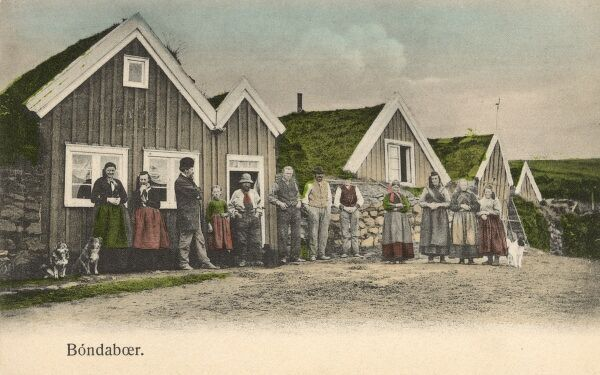 Iceland - Bondaboer. A group of villagers with their dogs standing in front of their houses with turf roofs. Date: circa 1910s