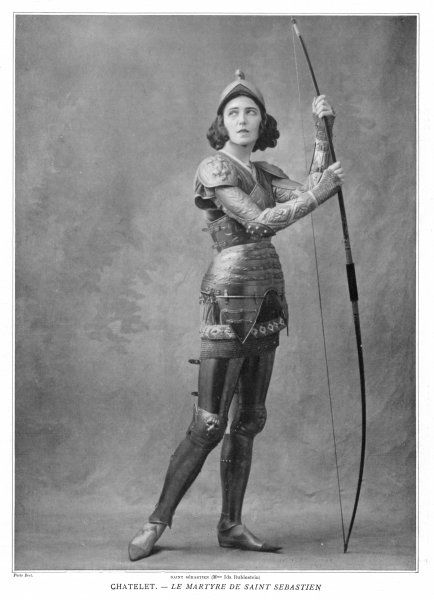 IDA RUBINSTEIN French actress as Saint Sebastian in Le martyre de Saint Sebastien of Gabriele d'Annunzio