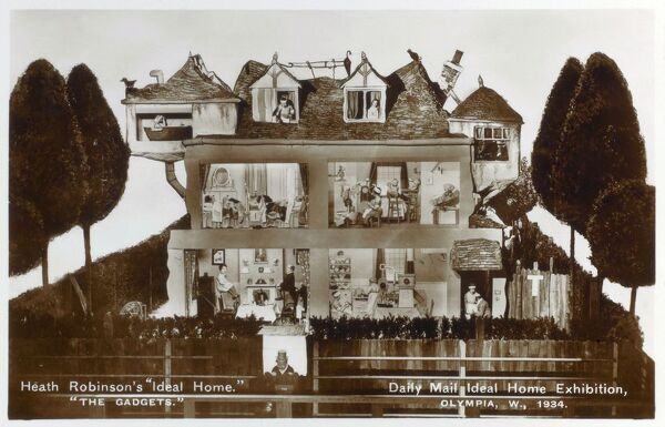 "William Heath Robinson's 'Ideal Home' - ""The Gadgets"". Displayed at the Daily Mail Ideal Home Exhibition at London Olympia. Date: 1934"