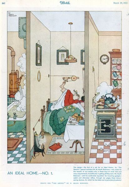 The first in the series of the Ideal Home designs by W. Heath Robinson. The illustrations from The Sketch depict ingenious space creating ideas for the spatially challenged home. Please note: Credit must appear as Courtesy of the estate of Mrs J