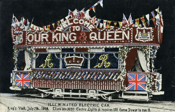 Illuminated Electric Car to celebrate the King's Visit to Leeds on July 7th 1908 - There are 3000 electric lights on the car which required 150 horsepower to run it!! Date: 1908