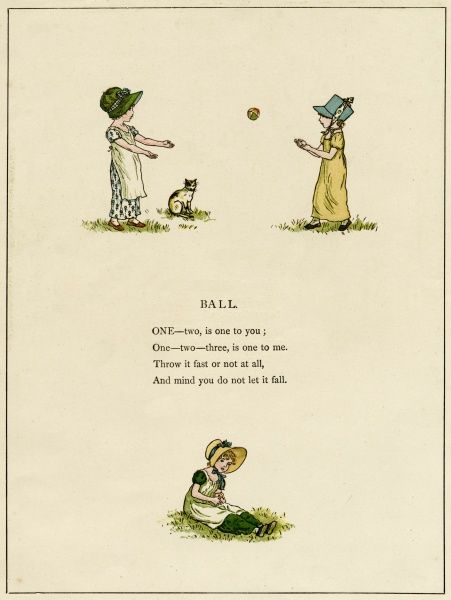 Illustration, Ball, showing three children playing with a ball, watched by a pet cat
