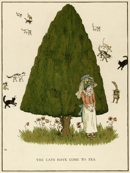 Illustration, The Cats Have Come to Tea, showing a little girl standing in front of a tree with several cats approaching