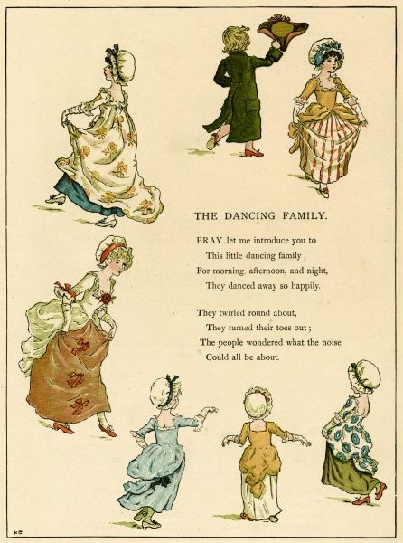 Illustration, The Dancing Family, showing seven people dancing in a circle