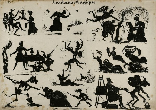 "Illustration entitled ""Lanterne Magique"" showing many silhouetted images of magic by Michel Delaporte, 1832. HPF/5C/0&quot"