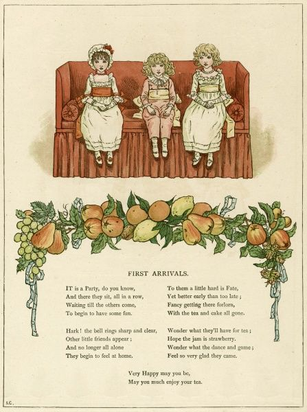 Illustration, First Arrivals, showing three children who are the first to arrive at a party, sitting demurely on a sofa