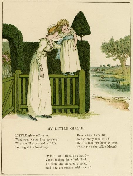 Illustration, My Little Girlie, showing a mother with her daughter at the garden gate