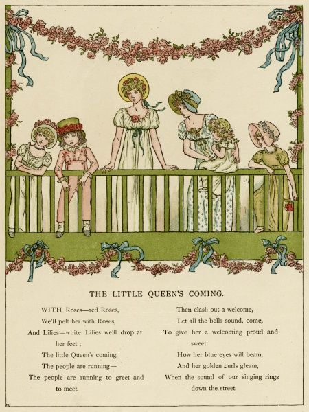 Illustration, The Little Queen's Coming, showing two young women and four children waiting for the special visitor on a balcony