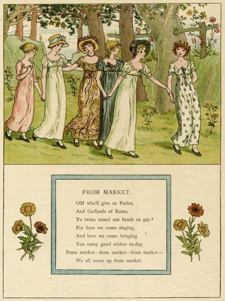 Illustration, From Market, showing six girls walking along hand in hand