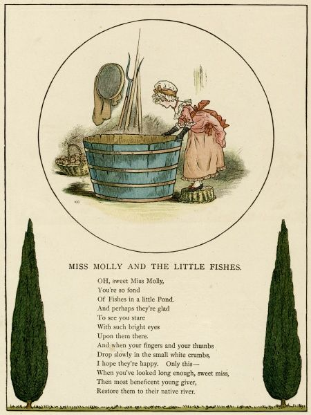 Illustration, Miss Molly and the Little Fishes, showing a little girl looking into a large tub of water