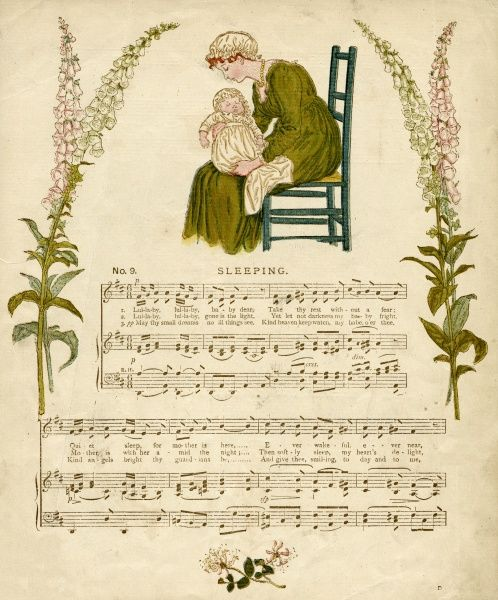 Illustration with music, Sleeping, showing a young mother with her baby asleep on her lap