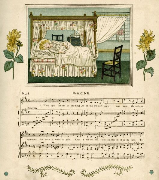 Illustration with music, Waking, showing a little girl lying in a four-poster bed -- Wake up! the sun is shining