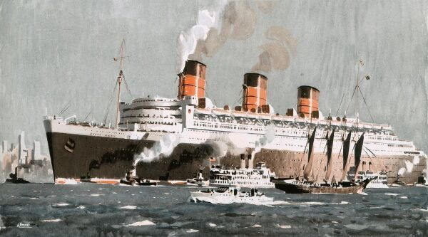 An illustration from an advertisement for cruises on the Queen Mary cruise liner
