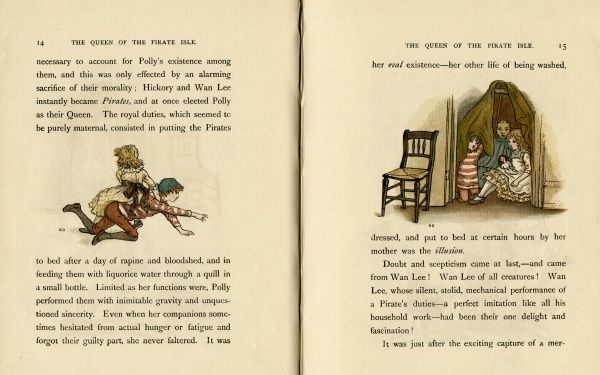 Two illustrations, The Queen of the Pirate Isle, showing (1) Polly riding on the back of her cousin Hickory Hunt, as they pretend to make for a desert island in a storm, and (2) the three children sheltering in the closet (representing the desert