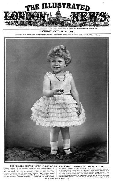 Front cover of The Illustrated London News featuring a photograph of Princess Elizabeth of York (the future Queen Elizabeth II) in a party dress