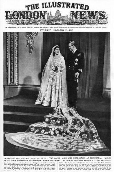 A front cover from The Illustrated London News of a newly married royal couple, Princess Elizabeth and Prince Philip. Date: 29th November 1947