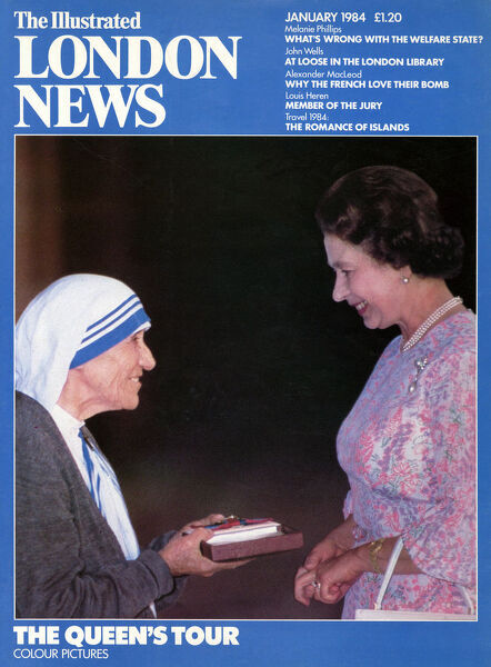 A front cover of The Illustrated London News from 1984 showing Queen Elizabeth II with Mother Teresa. Date: 01/01/1984