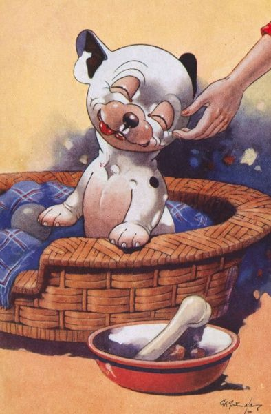 Colour illustration by George Ernest Studdy (1878-1948) showing Bonzo the dog sitting in his basket enjoying a pet from his owner and a bone in his dog bowl