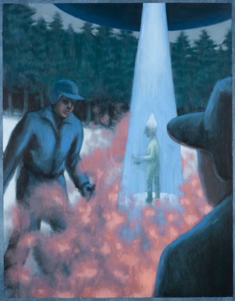 Woodman Aarno Heinonen and farmer Esko Viljo, skiing, see a domed UFO land 'so near I could have touched it with my ski-stick': an alien entity appears in a light beam
