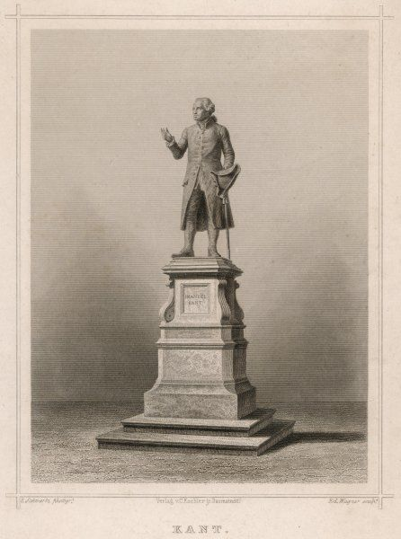 IMMANUEL KANT German philosopher: commemorative statue in Konigsberg Date: 1724 - 1804
