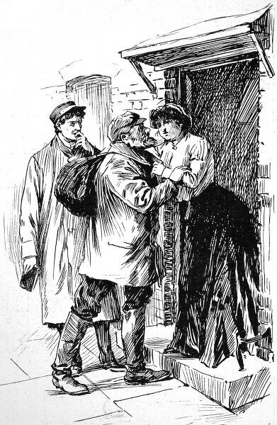 Engraving showing a Jewish immigrant with his pack on his back, being greeted by a loved one, while an officer from the Jewish shelter looks on, London, 1904