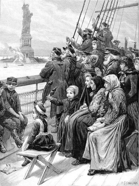 Engraving showing a group of immigrants (possibly Russian Jews) on the deck of their trans-atlantic ship, admiring the Statue of Liberty, on their arrival at New York, 1892