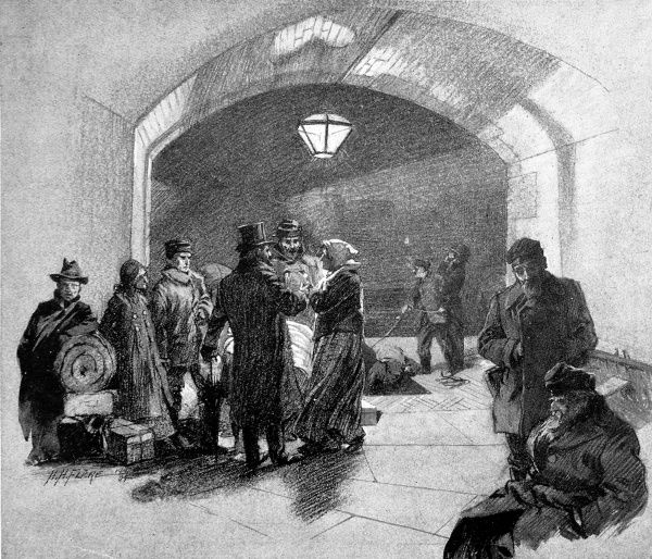Illustration showing immigrants arriving at Tower Bridge stairs at night, London, 1904. Some of the immigrants (centre) are being greeted by their new employer