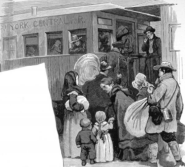 Engraving showing immigrant families waiting to board a train at New York Cental Station, 1886. This train was bound for the Mid-West of America