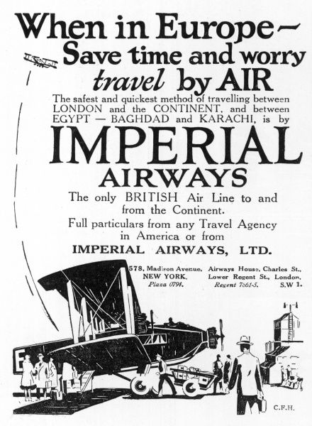 Imperial Airways use the Armstrong Whitworth AW.155 'Argosy' I on their European flights : the cockpit is open, but the 20 passengers enjoy food and drink in comfort
