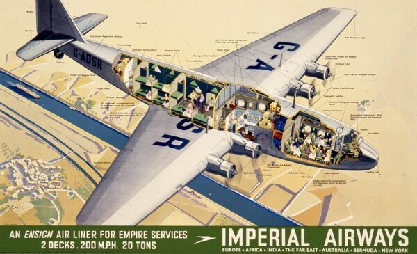 Imperial Airways poster advertising an ensign air liner for Empire services, 2 decks, 200 mph, 20 tons, the G-ADSR. It is shown with the side cut away so the interior features can be labelled
