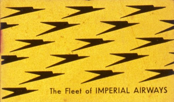 The Fleet of IMPERIAL AIRWAYS : yellow card with the Imperial Airways logo in black