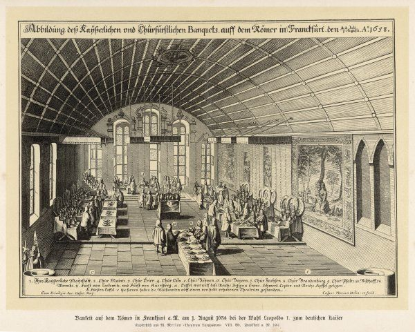 On the occasion of Leopold I's election to the Imperial throne, Friedrich Wilhelm, 'the Great Elector', gives a ceremonial banquet in the town hall, Frankfurt-am-Main