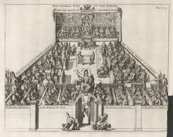 The Imperial Diet at the time of the Thirty Years War, with seats for the ecclesiastical princes, the secular princes, and deputies from the towns